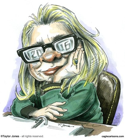 Taylor Jones - Politicalcartoons.com - Hillaryvision - COLOR - English - hillary,clinton,secretary,of state,presidency,2016,first woman president,gender,equality,eyeglasses,benghazi,libya, best of hillary clinton, hillary 2016