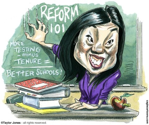 Taylor Jones - Politicalcartoons.com - Michelle Rhee - Radical - COLOR - English - michelle,rhee,radical,education,reform,public schools,charter schools,tenure,teachers,teachers unions,students,korean-american