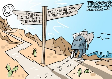 David Fitzsimmons - The Arizona Star - path to oblivion COLOR - English - immigration