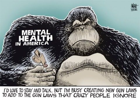 Randy Bish - Pittsburgh Tribune-Review - ADDRESSING THE GORILLA IN THE ROOM, COLOR - English - OBAMA, GUN, GUNS, SHOOTING, VIOLENCE, SCHOOLS, CHILDREN, GUN LAWS, LAW, LEGISLATION, BAN, GOVERNMENT, GUN CONTROL