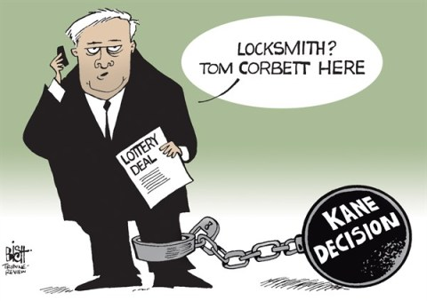 Randy Bish - Pittsburgh Tribune-Review - LOCAL, PA LOTTERY DEAL, COLOR - English - GOVERNOR, TOM CORBETT, CORBETT, PENNSYLVANIA, LOTTERY, ATTORNEY GENERAL, KATHLEEN KANE SELL, PRIVATIZE