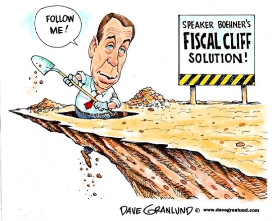 Dave Granlund - Politicalcartoons.com - Fiscal cliff and Boehner - English - Fiscal cliff, budget, cuts, john boehner, house speaker, solution, automatic cuts, taxes, tax revenue, loopholes, wealthy, rich, gop, stall, republicans
