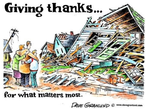 Dave Granlund - Politicalcartoons.com - Giving thanks - English - Thanksgiving, family, gathering, priorities, thankful, blessings, life, lives, loved ones, important, material things