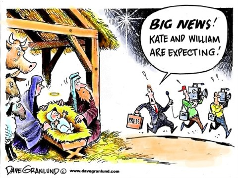 Dave Granlund - Politicalcartoons.com - William and Kate expecting - English - Dutchess Kate, Princess Kate, Prince William, Royal couple, pregnant, baby, press, paparazzi, media, UK, England, royalty
