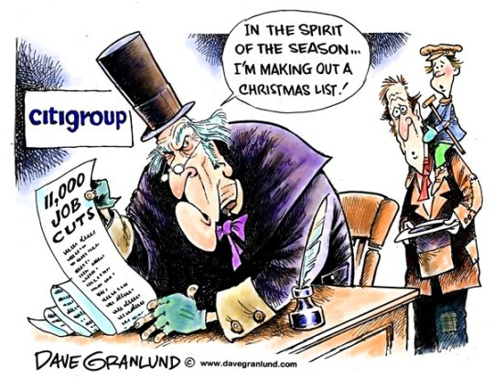 Dave Granlund - Politicalcartoons.com - Citigroup job cuts - English - Citigroup job cuts, 11000, pink slips, layoffs