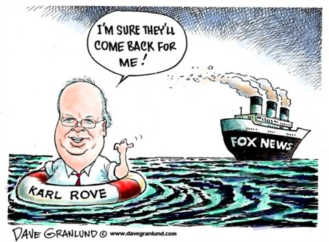 Dave Granlund - Politicalcartoons.com - Karl Rove and Fox News - English -