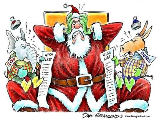 Dave Granlund - Politicalcartoons.com - Partisan wish lists - English - gop, partisan, republicans, santa, santa claus, st nick, wish list, presents, Christmas, Democrats, Democratic, spioled children kids, childish, tantrums, holidays,