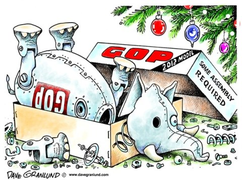 Dave Granlund - Politicalcartoons.com - GOP in pieces - English - gop, republican, republicans, in pieces, pieces, Christmas, box,