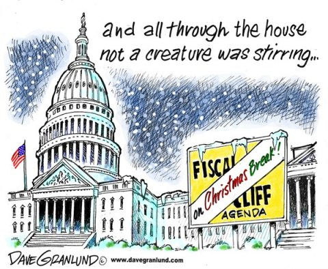 Dave Granlund - Politicalcartoons.com - Fiscal cliff Christmas break - English - Washington, house, plan b, boehner