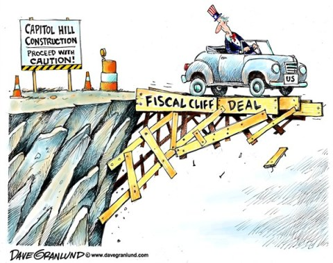 Dave Granlund - Politicalcartoons.com - Fiscal cliff deal - English - Fiscal cliff, deal, okd, done, deal passed, house, senate, bill, passed, Fiscal cliff deal passed, taxes, middle class