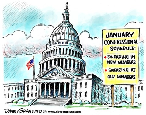 Dave Granlund - Politicalcartoons.com - Congress swearing in - English - Congress, Senate, House, congress members, congressmen, women, congresswoman, lawmakers, senators, house members, sworn in, oath, swearing at