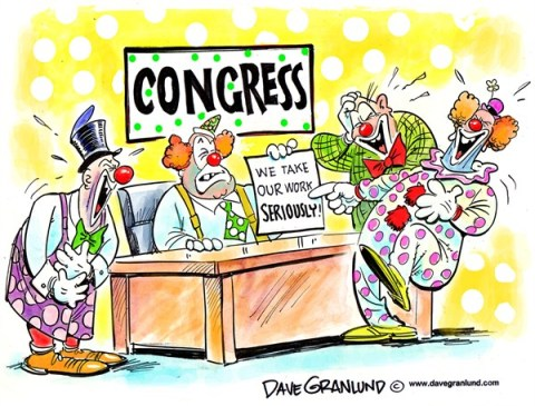 Dave Granlund - Politicalcartoons.com - Congressional clowns - English - Congress, do nothing, gridlock, partisan, bickering, stonewalling, obstruction, decorum, negotiate, no deals, foot-dragging
