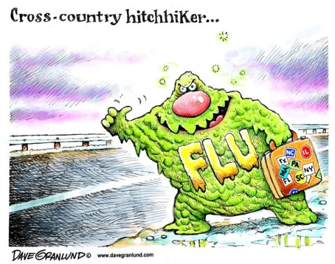 Dave Granlund - Politicalcartoons.com - Flu spreading - English - Flu, sickness, illness, care of flu, influenza, virus, flu shots, sprading, catching flu, contagen, contagious, coughing, sneezing, pandemic