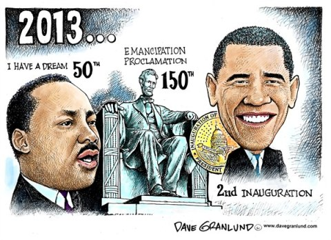 Dave Granlund - Politicalcartoons.com - Obama 2nd Inauguration  - English - MLK, Martin Luther King jr, Dr King, Rev King, Emancipation Proclamation, Obama, oath, 2013, Oath of office, second inaugural, president, Lincoln, Abe Lincoln, I have a dream, free the slaves