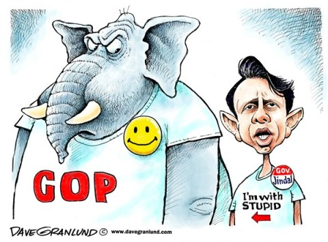 Dave Granlund - Politicalcartoons.com - Bobby Jindal and GOP - English - Governor Jindal, Bobby Jindal, Jindal, LA, South, Stupid party, GOP, Republicans, 2016, Republican, conservative, Gov Jindal, happy party, elephant