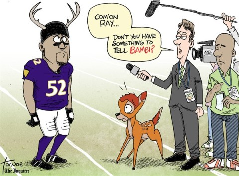 Rob Tornoe - Philadelphia Inquirer - Ray Lewis Super Bowl - English - Ray Lewis,Super Bowl,Bambi,deer antler spray,PED,New Orleans,NFL,reporters,media,Baltimore Ravens,Super Bowl 2013,steroids, super bowl 2013