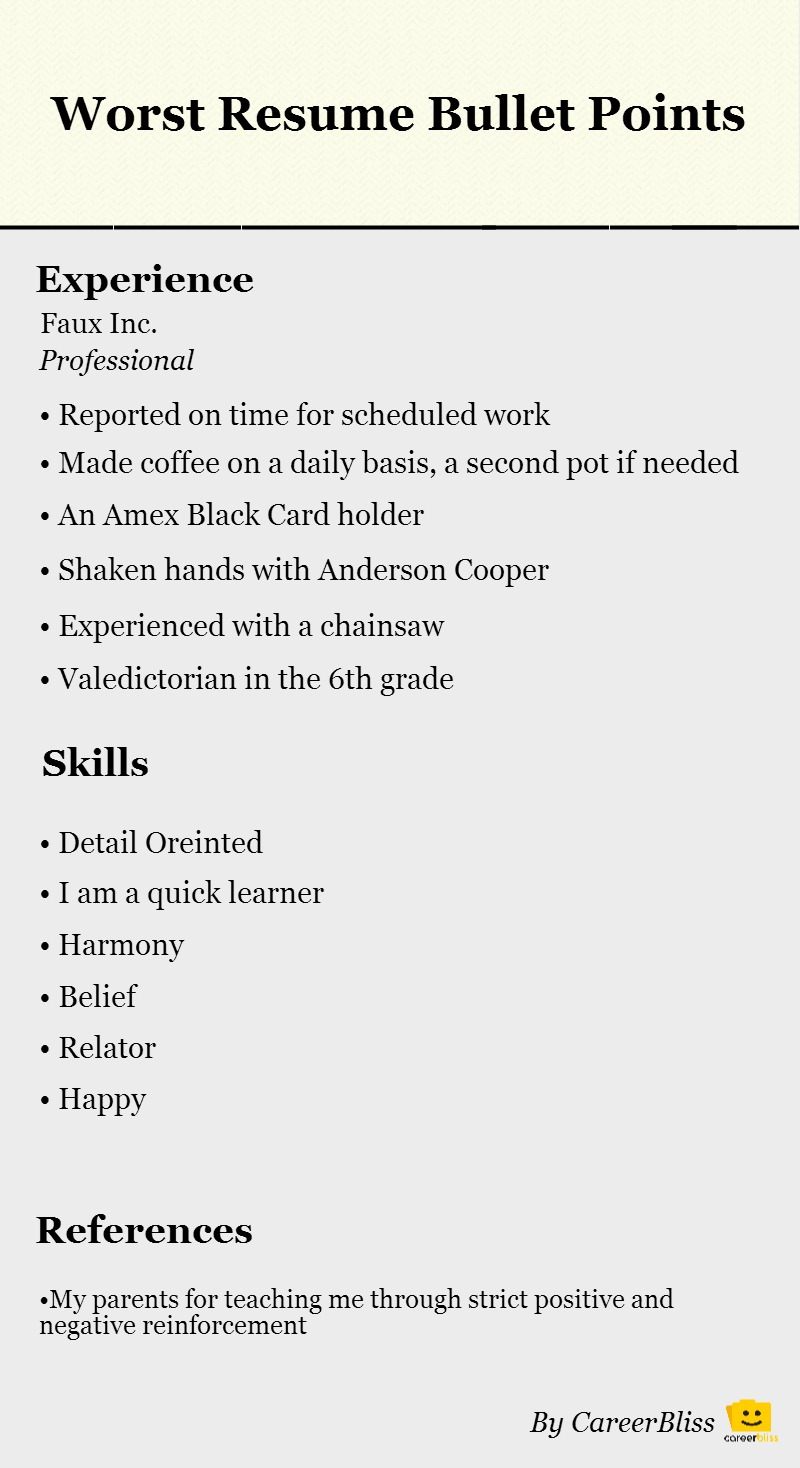 resume template bullet points