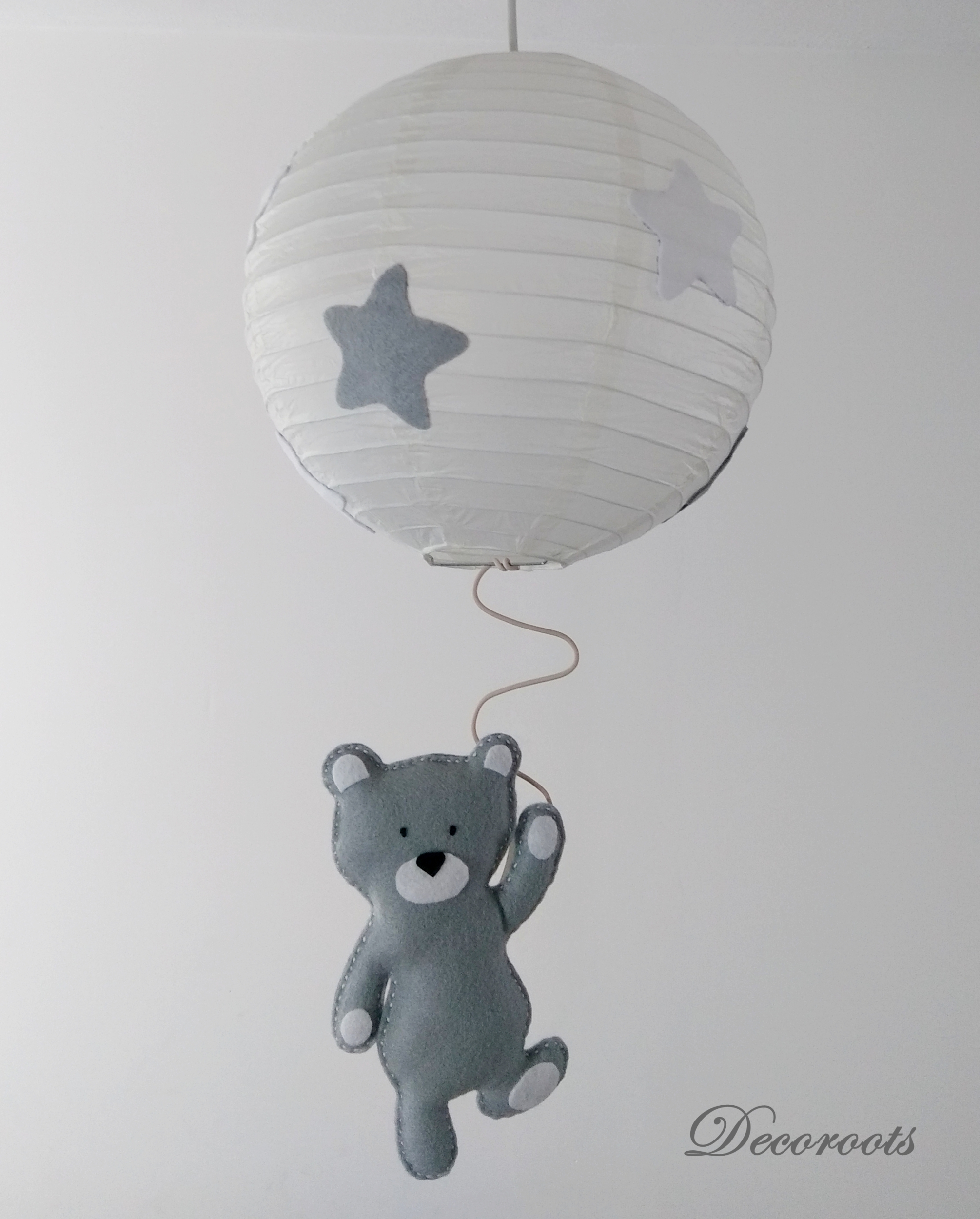 Lampe Chambre D Enfant Lustre Suspension Ours Tom Gris Blanc