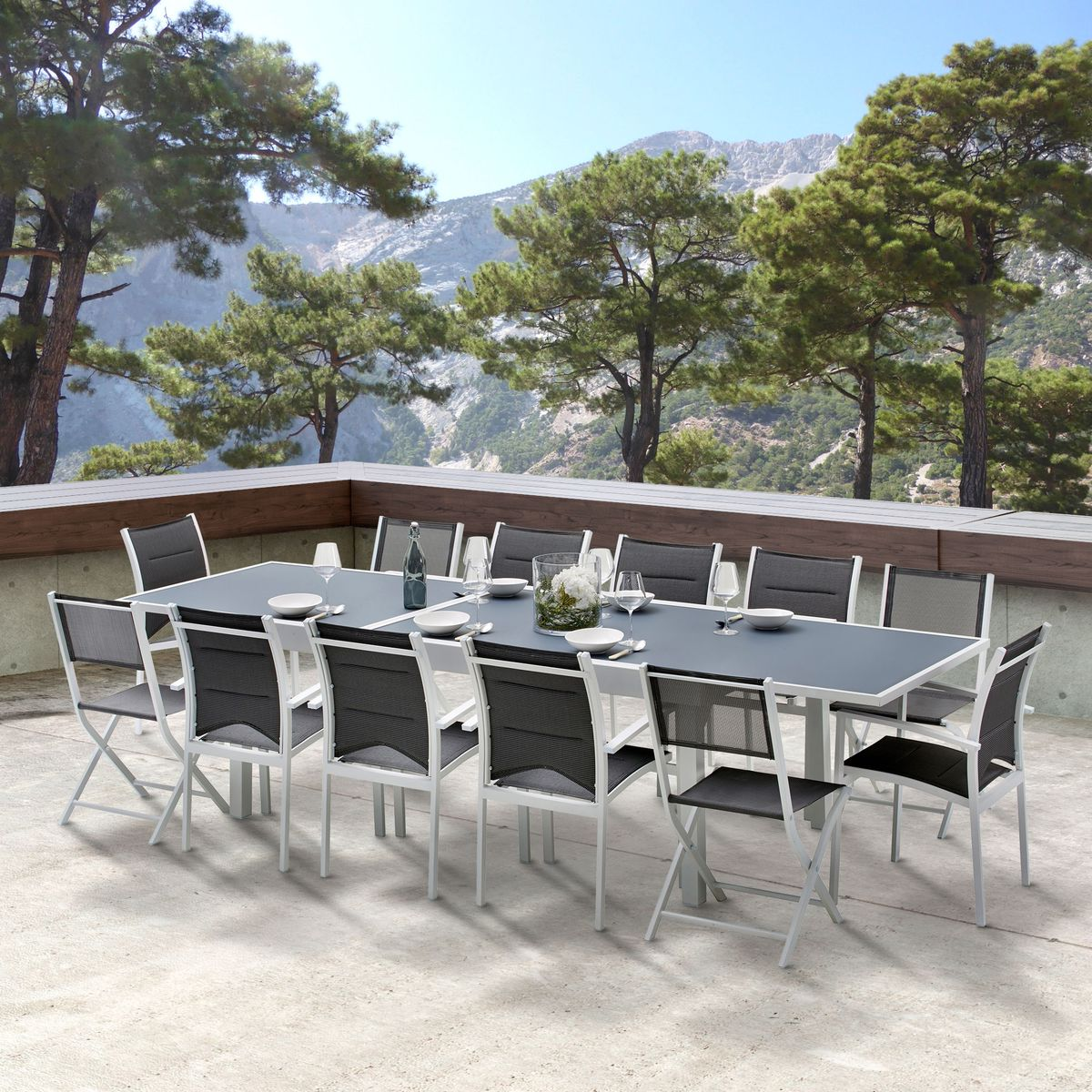 Table En Aluminium 6 10 Places 10 Fauteuils Modulo