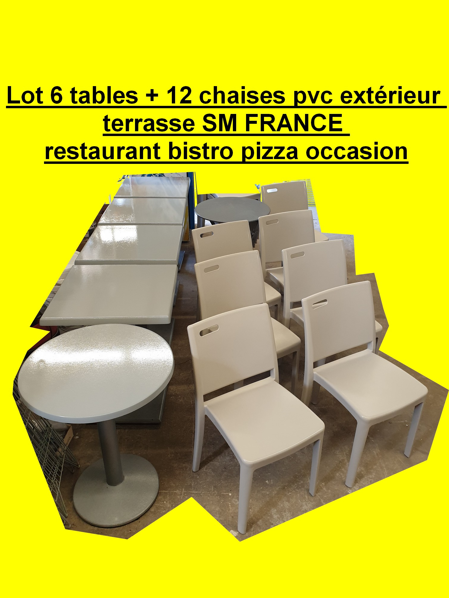 Chaise Exterieur Restaurant Lot 6 Tables 12 Chaises Pvc Extérieur Terrasse Sm France Restaurant Bistro Pizza Occasion