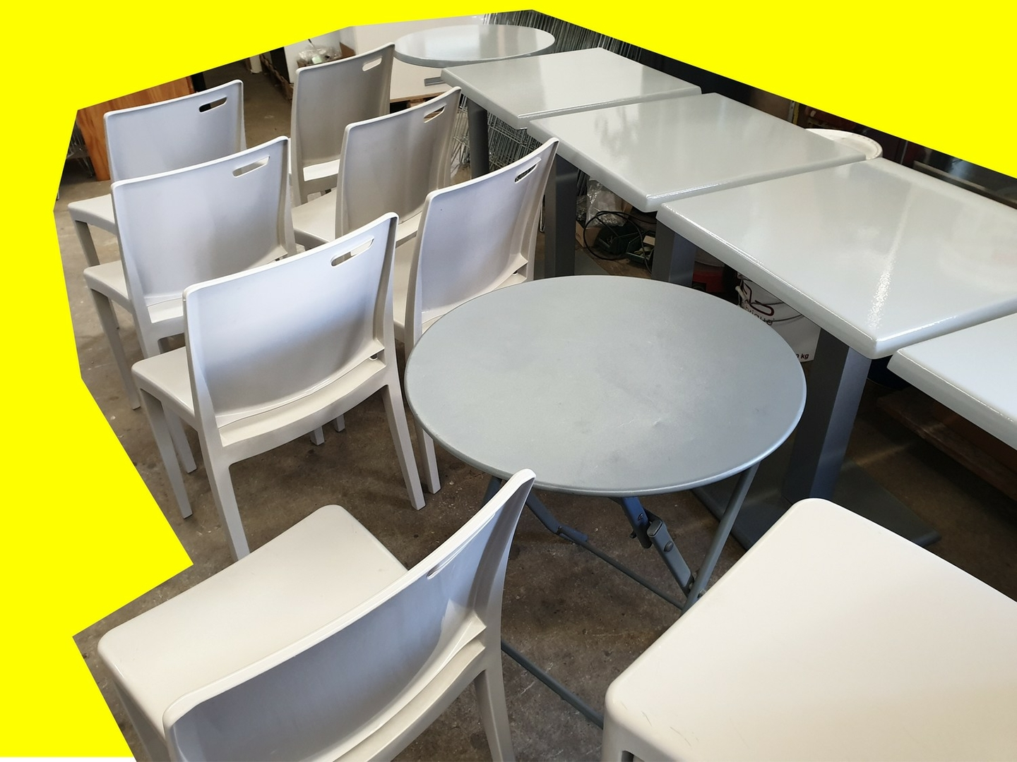 Table Pvc Exterieur Lot 6 Tables 12 Chaises Pvc Extérieur Terrasse Sm France Restaurant Bistro Pizza Occasion