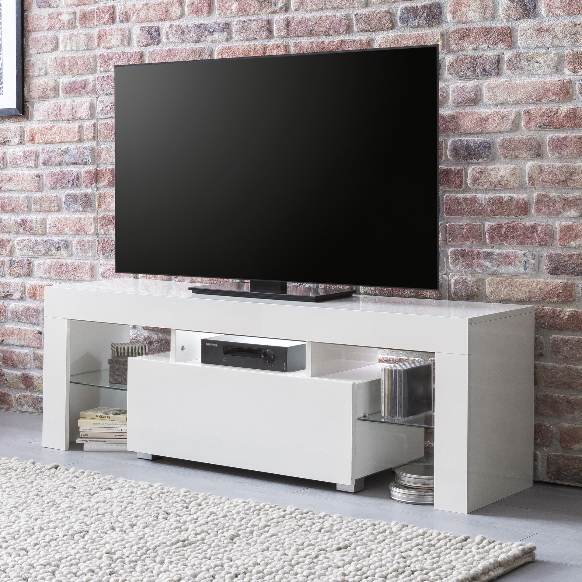 Meuble Tv 130 Cm Meuble Tv Telio Blanc Brillant 1 Tiroir Led Blanc 130 Cm