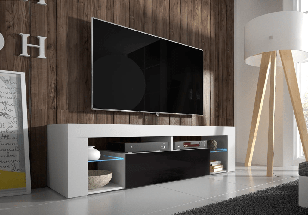 Meuble Tv Led Blanc Laqué Meuble Tv Laqué Blanc Noir Led Over - Collection Design