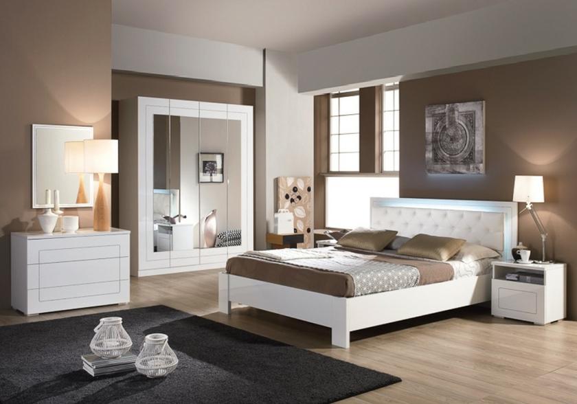 Meubles chambre à coucher laqué blanc ALASKA Design Moderne Chic