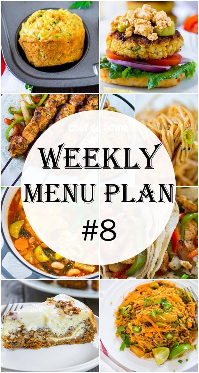Weekly Meal Menu Plan - 8 Meals ChefDeHome