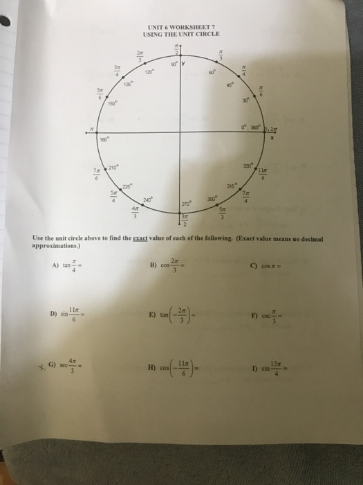 the unit circle worksheet answers