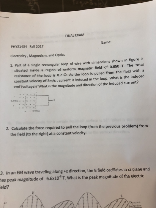 electricity and magnetism exam answers