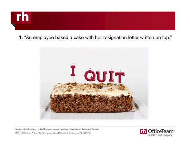 Top 10 oddest, often hilarious, ways employees quit their jobs - resignation letter cake