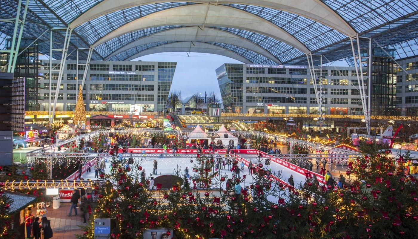 Munich Airport S Christmas Market Has Two Rinks And Almost 500 Real Trees Condé Nast Traveler