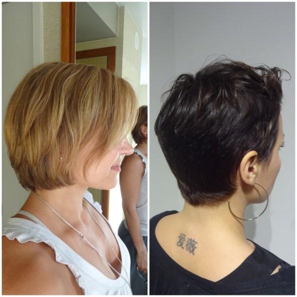 Både klippning och en mörkare hårfärg