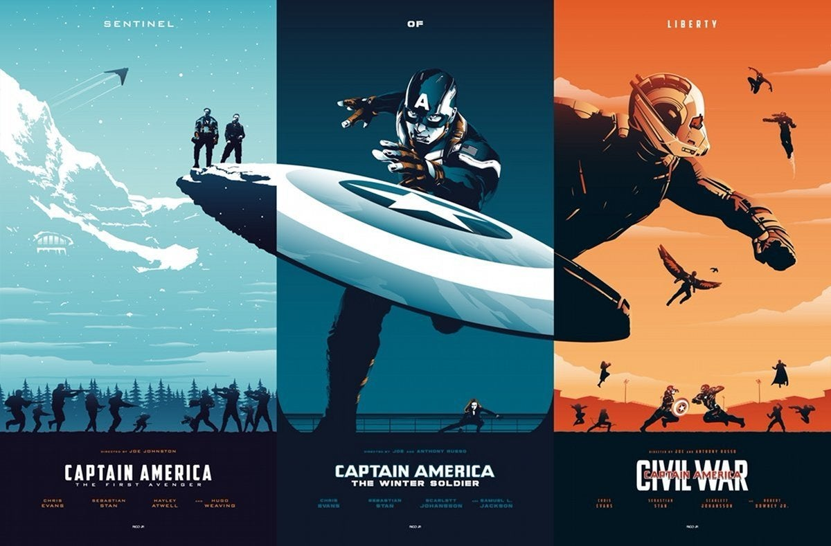 Photo Poster Captain America Trilogy Fan Poster Brings The Three Films