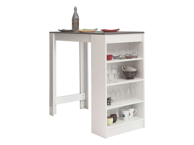 Meuble Tv Metal Conforama Table De Bar Rey Coloris Blanc/ Béton - Vente De Table