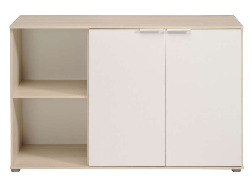 Bahut Blanc Conforama Buffet 2 Portes 2 Niches Kingdom Coloris Blanc/ Acacia