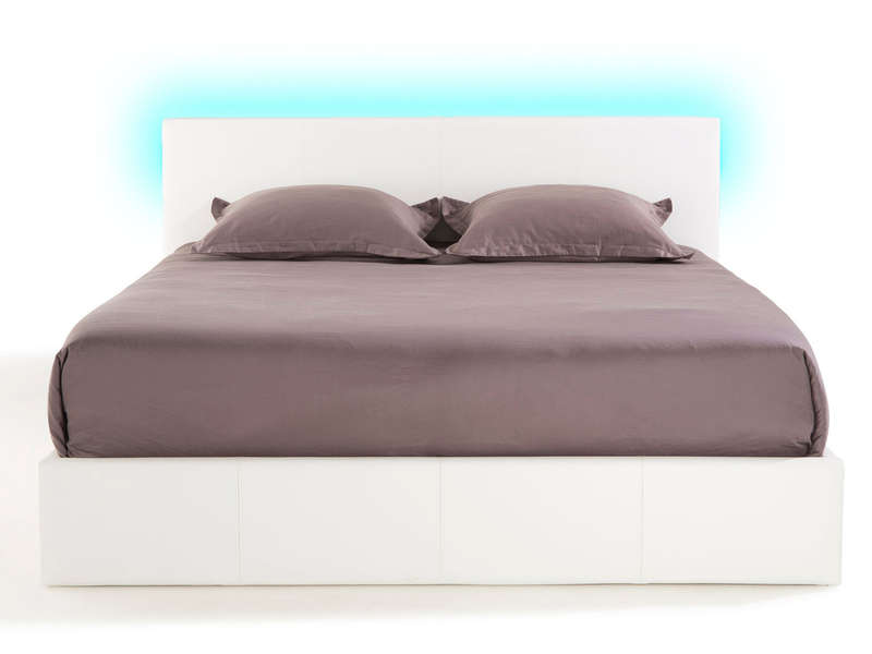 Lit Coffre Led 140x190 Lit-coffre 140x190 Cm Avec Led Steva Light Coloris Blanc
