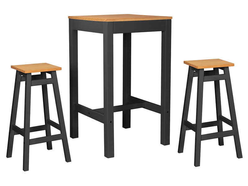 Ensemble Table De Bar 2 Tabourets Joy Coloris Anthracite - Table Cuisine 2 Tabourets