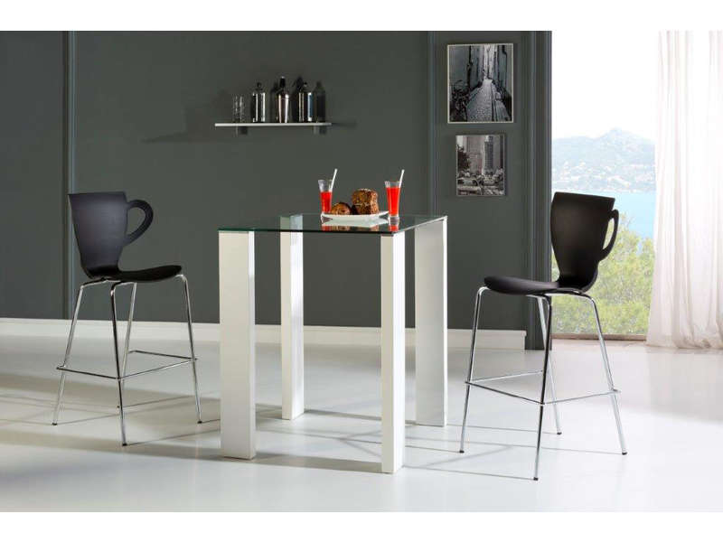 Table Chaise Encastrable Ensemble Table Haute + 4 Chaises Brandy Coloris Blanc/noir