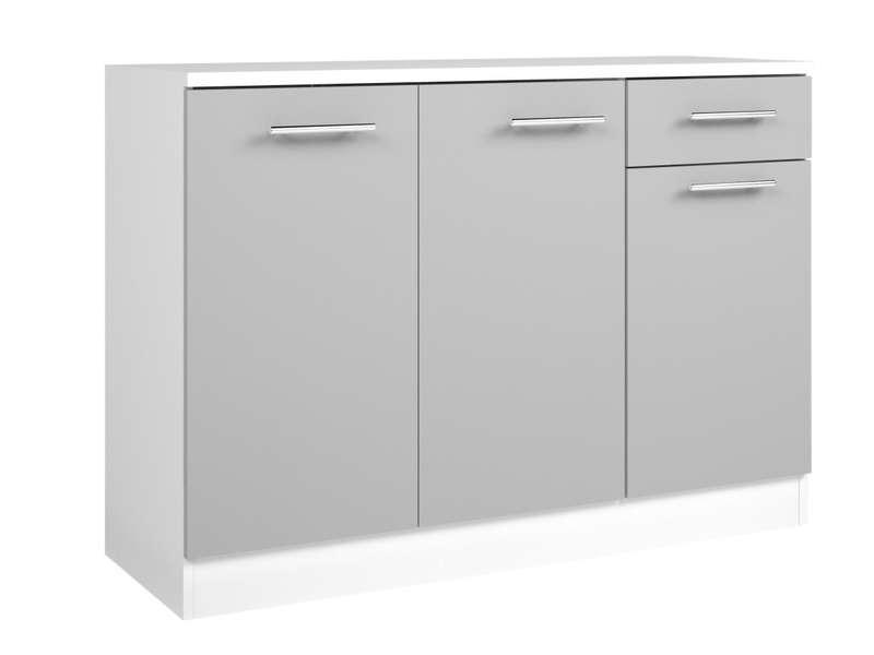 Buffet bas L120 cm CENTER coloris blanc/gris Voir la fiche complète