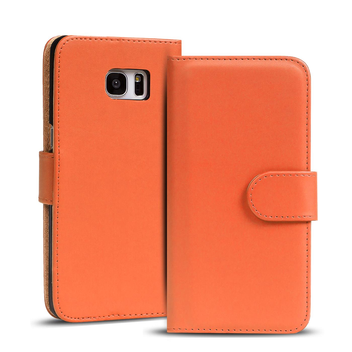 Handyhülle S6 Edge Leder Details About Book Case Samsung Galaxy S6 Edge Case Flip Cover Phone Protection In Orange