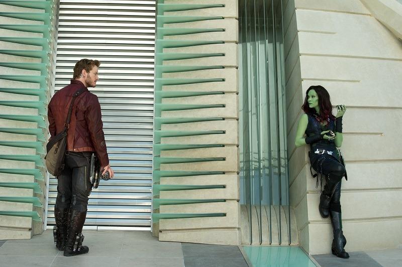 Marvel's Guardians Of The Galaxy</p><p>L to R: Peter Quill/Star-Lord (Chris Pratt) & Gamora (Zoe Saldana)</p><p>Ph: Jay Maidment</p><p>©Marvel 2014