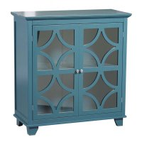 Linon 2 Door Accent Cabinet in Teal - 98573TEAL01