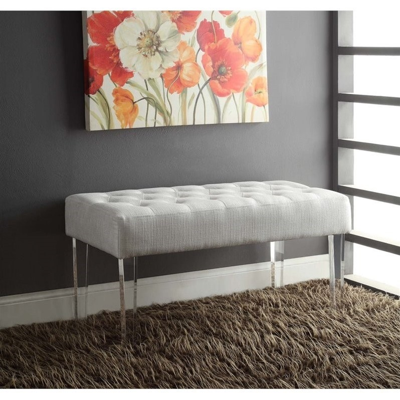 Living Room Bench in White - 368261GLTZ01 - bench for living room