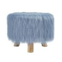 Faux Fur Stool in Dusty Blue - 40487BLU-01-AS-U