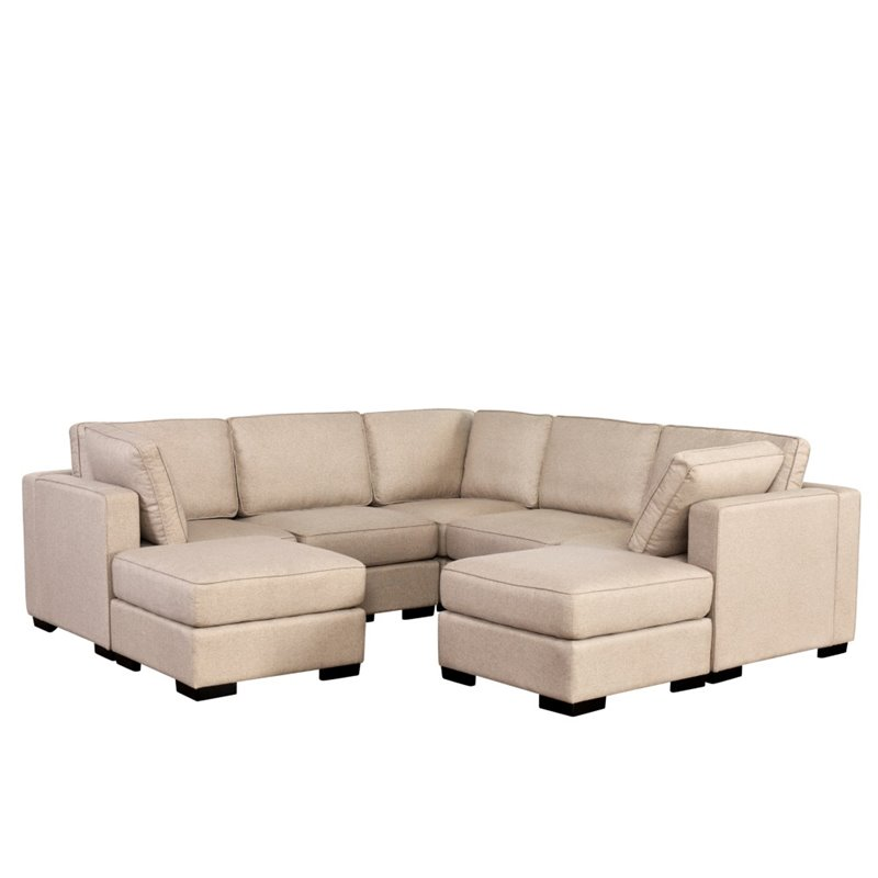 Abbyson Living Harper 7 Piece Sectional in Cream - SK-5914-CRM-7PC - 7 piece living room set