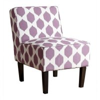 Fiona Patterned Fabric Accent Chair in Purple - MW-6705-PRP