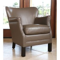 Sienna Leather Petite Accent Chair in Taupe - BR-SF1034-TPE