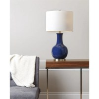 Abbyson Gourd Ceramic Table Lamp in Navy Blue